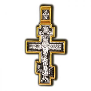 Crucifixion of Christ. Archangel Michael. Orthodox cross