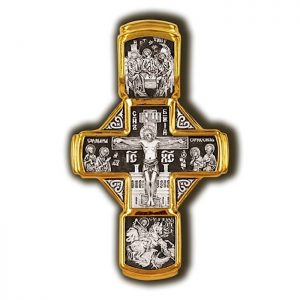 Gold orthodox cross pendant - Mary, Archangels, St Nicholas and Apostles