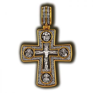 Crucifixion of Christ. Deesis Apostle Peter Icon of the Mother of God Tenderness. Archangels Michael and Gabriel. St. Nicholas the Wonderworker. Orthodox cross.