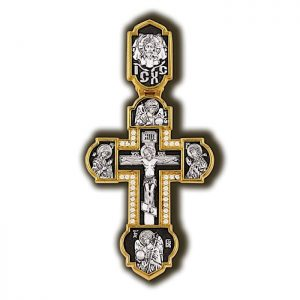 Cross pendant for chain - Crucifix with saints icons