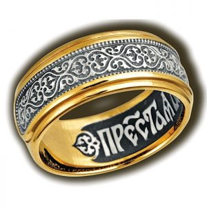 Ring. Ornament Byzantine flower. Prayer of the Most Pure Mother of God.