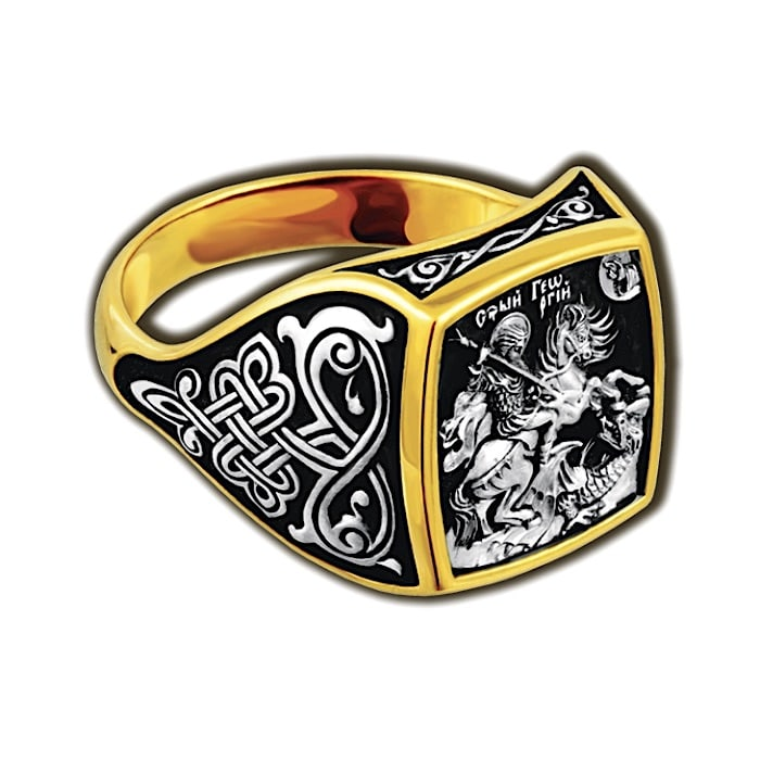 Orthodox ring for men with St. George