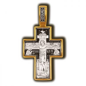 Crucifixion of Christ. Cover of the Blessed Virgin. Orthodox cross.