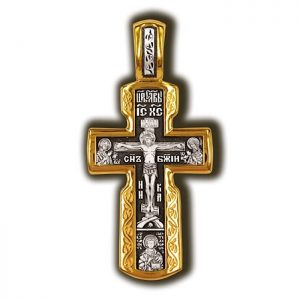 """Crucifixion of Christ. Deesis Icon of the Mother of God """"All-Sir"""". Panteleimon. Orthodox cross."""