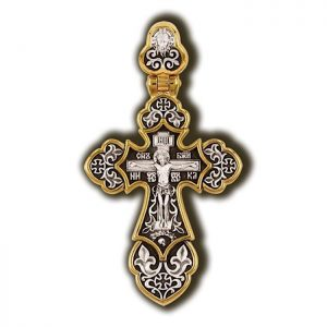 Orthodox christian cross necklace pendant - Guardian angel and Crucifixion