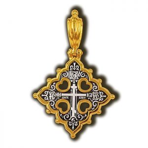 Gold plated cross charm - orthodox cross
