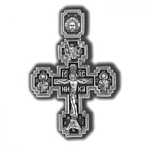 925 silver cross pendant - crucifix with saints