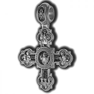 Large sterling silver crucifix pendant - Jesus and Saints