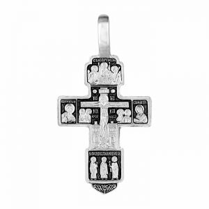 Solid silver crucifix necklace - Orthodox Cross pendant