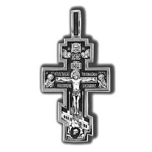 Silver orthodox cross necklace - crucifix pendant