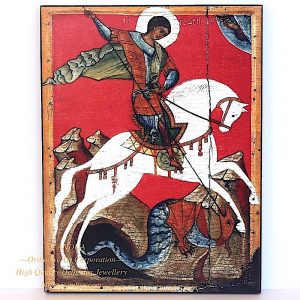 Rare Russian orthodox icon - The Miracle of St. George. Early XIV century