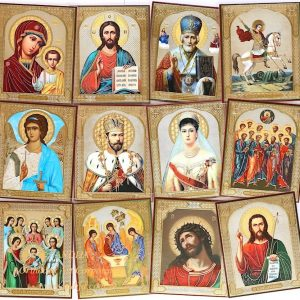 Crystal laminated Russian orthodox icons of Saints set of 12