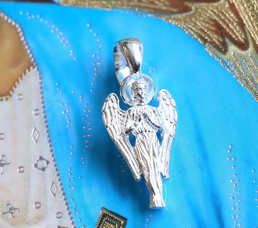 Archangel Uriel silver pendant with set of 6 orthodox icon cards of Archangels